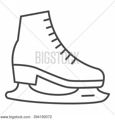 Skates Thin Line Icon, World Snow Day Concept, Skating Sign On White Background, Hockey Skates Symbo