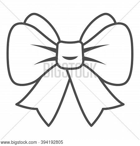 Festive Bow Thin Line Icon, New Year Concept, Christmas Bow Sign On White Background, Ribbon Bow Ico