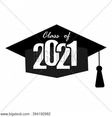 Icon With Black 2021 Graduate Cap For Celebration Design. Certificate Icon Design Vector Illustratio