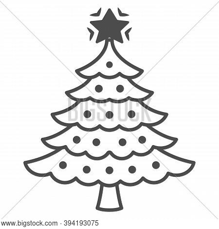 Christmas Tree Thin Line Icon, New Year Concept, Fir-tree Sign On White Background, Christmas Tree W