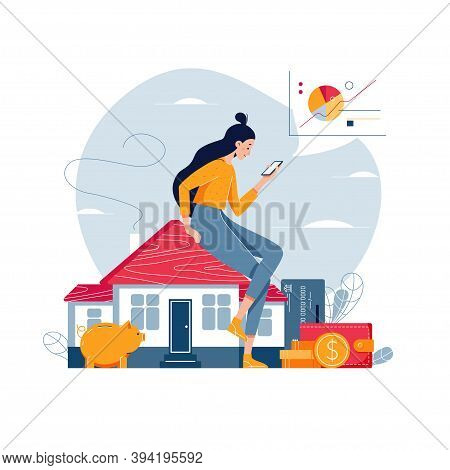 Property Investment Vector Illustration. Woman Sitting On The House, Analyzes Profit From Real Estat