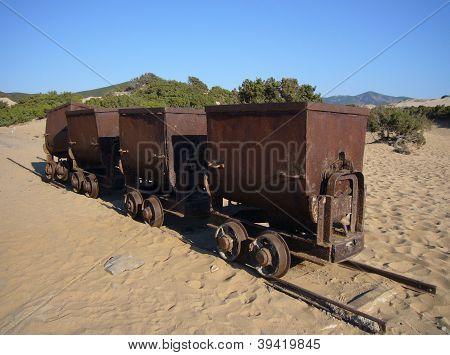 old mining trolleys