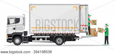 Truck Trailer Loaded With Cardboard Boxes By Movers. Delivery Van With Pile Of Boxes. Express Delive