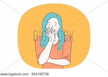 Happiness, Laughing, Smiling, Positive Emotions Concept. Happy Teen Girl Cartoon Character With Blue
