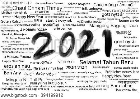 Vector illustration abstract black and white background. Happy New Year 2021 many languages around the world. For backdrop, card, postcard, greeting, celebration etc.