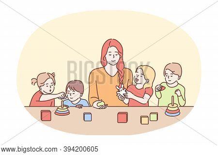 Nanny In Kindergarten, Babysitter, Babysitting Concept. Young Smiling Woman Cartoon Character Babysi