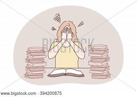 Stress, Overwork, Overload, Burnout Concept. Young Unhappy Frustrated Woman Cartoon Character Sittin