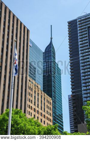 TORONTO CANADA -  23 JUNE,2019: Modern office buildings in downtown Toronto, Major economic hub of the world  also is a commercial, distribution, financial and industrial center.