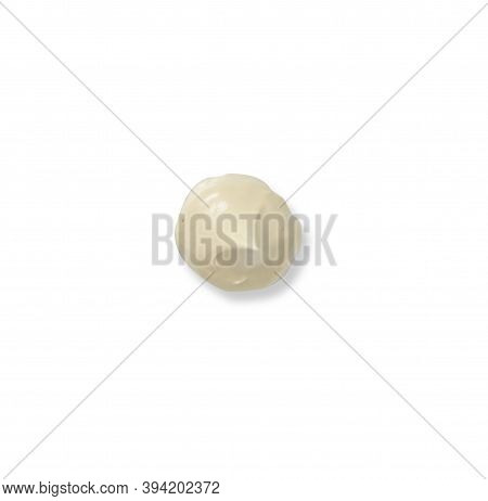 Color Corrector Strokes Isolated On White Background. Beige Colour Correcting Cream Concealer Smudge