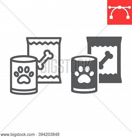 Pet Food Line And Glyph Icon, Tin Can And Meal, Dog Food Sign Vector Graphics, Editable Stroke Linea