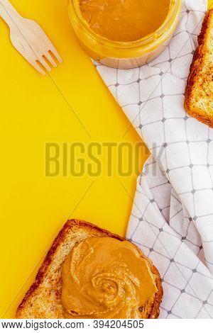 Appetizing Peanut Paste Butter Sandwich. Top View.