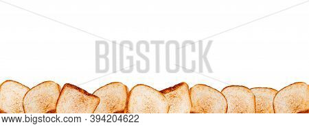 Toasted Bread Bottom Border. Isolated On White.