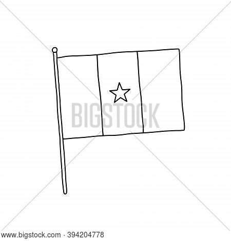 Cameroon  Flag Vector, Outline Illustration. Vector Black And White Cameroon Flag.