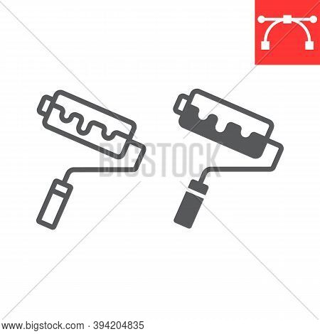 Paint Roller Line And Glyph Icon, Construction And Repair, Roller Brush Sign Vector Graphics, Editab
