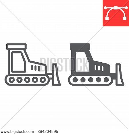 Bulldozer Line And Glyph Icon, Construction And Vehicle, Bulldozer Sign Vector Graphics, Editable St