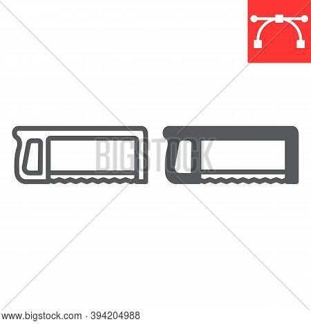 Hacksaw Line And Glyph Icon, Construction And Carpentry, Handsaw Sign Vector Graphics, Editable Stro
