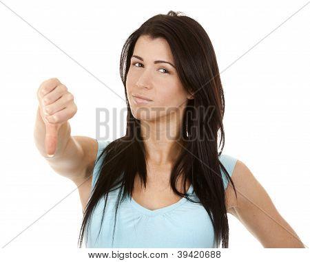 Woman Giving Thumb Down