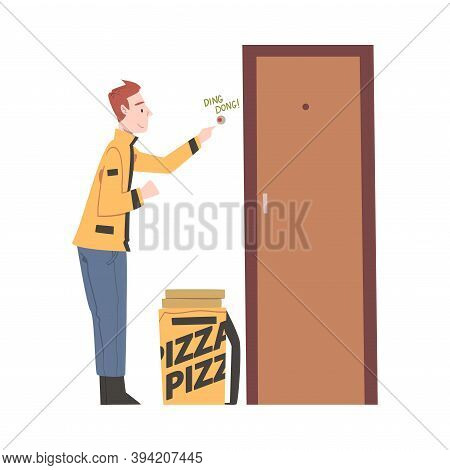 Food Delivery Man Ringing At Apartment Doorbell, Online Food Order And Delivery Service Cartoon Styl