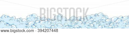Hand Drawn Horizontal Background With Fluffy Clouds. Banner With Soap Foam Or Curly Cumulus. Natural
