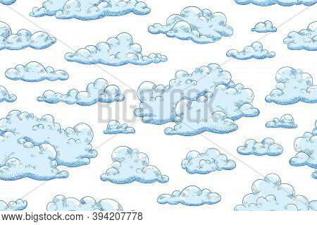 Seamless Pattern With Blue Fluffy Clouds. Hand Drawn Endless Background With Curly Cumulus For Wrapp