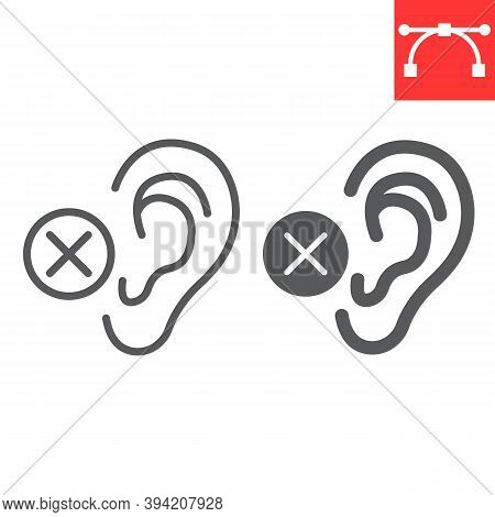Deaf Line And Glyph Icon, Disability And Deafness, Hearing Impaired Sign Vector Graphics, Editable S