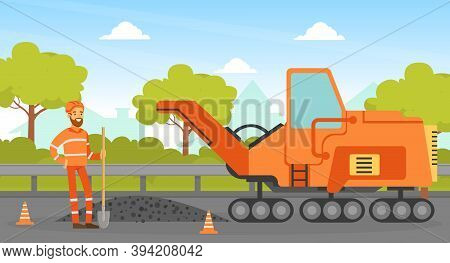 Road Construction And Repair, Construction Worker And Heavy Construction Machine, Builder Character