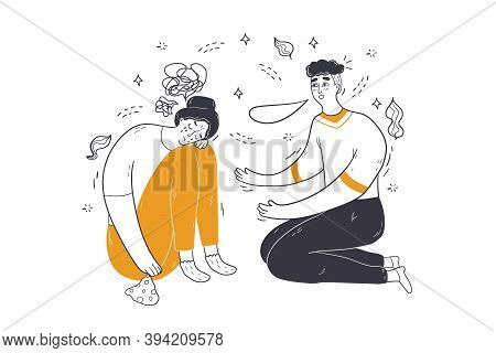 Mental Stress, Depression, Support Concept. Man Guy Cartoon Character Consoling Comforting Calming D