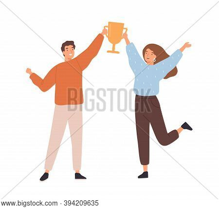 Couple Of Man And Woman Winners Holding Golden Goblet. Happy Successful People Win Award. Concept Of