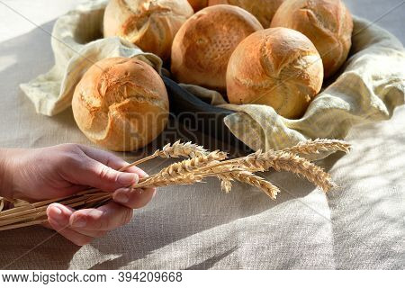 Kaiser Or Vienna Buns In Bread Basket With Linen Towel. Table Covered With Sand Color Tablecloth.