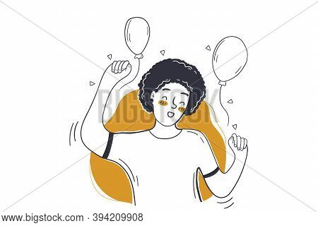 Party, Celebration, Birthday Concept. Young Happy Smiling Joyful Woman Teenager Girl Cartoon Charact