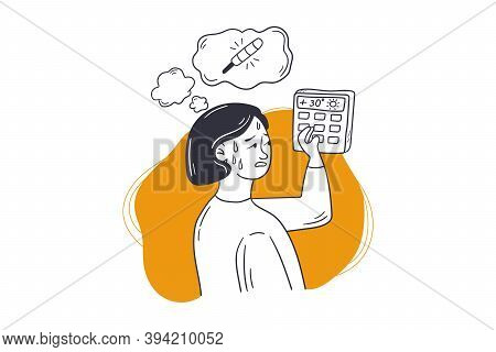 Summer, Heat, Conditioning Concept. Young Sweating Woman Girl Cartoon Character Adjusting Central He