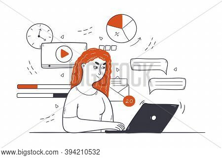 Business, Multitasking, Time Management Concept. Young Happy Businesswoman Clerk Manager Freelancer