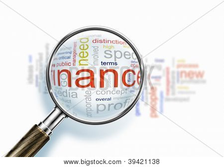 Business words collage under a magnifying glass