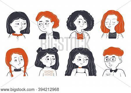 Childhood, Friendship, Portrait Set Concept. Collection Group Of Children Friends Toddlers Pupils Bo