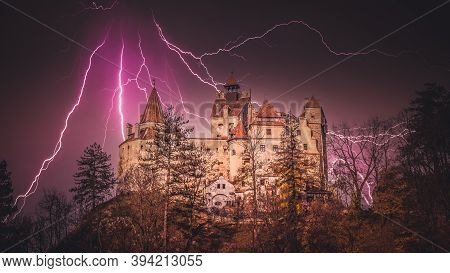 Spectacular Thunder Over Bran Castle, Transylvania, Romania. A Medieval Building Known As Castle Of