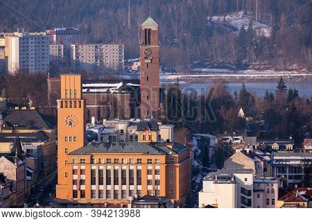 View Of Jablonec Nad Nisou And The Town Hall