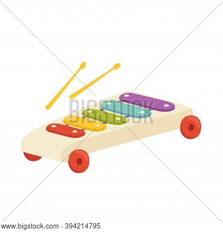 Musical Toy For A Child Xylophone. Toy Musical Instrument For The Development Of A Talented Child