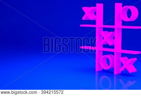Pink Tic Tac Toe Game Icon Isolated On Blue Background. Minimalism Concept. 3d Illustration 3d Rende