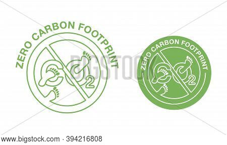 Co2 Neutral Zero Carbon Footprint Stamp In Thin Line - Carbon Emissions Free (no Air Atmosphere Poll