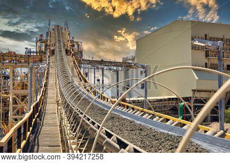 conveyor belt at sunset in a diamond mine in Botswana