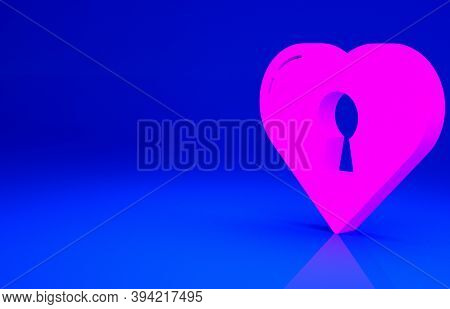 Pink Heart With Keyhole Icon Isolated On Blue Background. Locked Heart. Love Symbol And Keyhole Sign