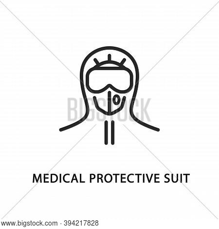 Medical Protective Suit Flat Line Icon. Vector Illustration Doctor In Protective Clothing