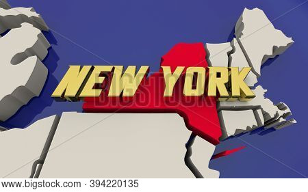 New York State Map United States America USA NYC Manhattan Render 3d Illustration