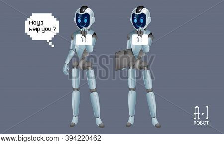 Vector Of Artificial Intelligence (a.i) Robots. It Comes With Different Poses.