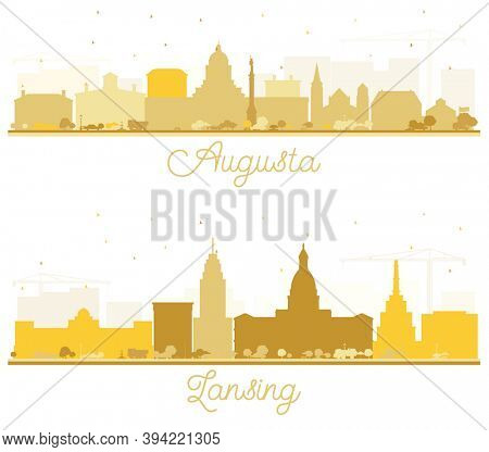 Lansing Michigan and Augusta Maine City Skyline Silhouettes Set with Golden Buildings Isolated on White.