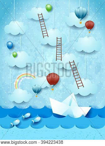Surreal Seascape With Paper Boat, Balloons And Stairways. Vector Illustration Eps10