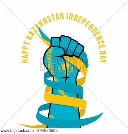 Kazakhstan Independence Day Design With Colored Hand With Kazakhstan Flag Color And Gripping The Rib