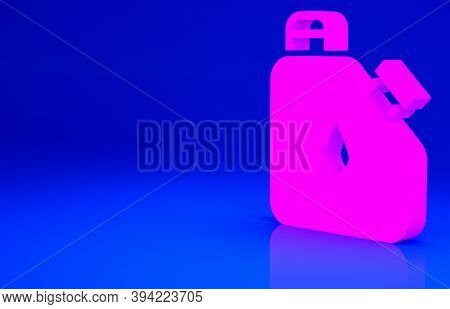 Pink Canister For Flammable Liquids Icon Isolated On Blue Background. Oil Or Biofuel, Explosive Chem