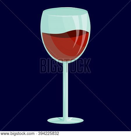 A Wine Glass Is Isolated On A Dark Background. Alcohol Dependence, Alcoholism. Red Wine Splashes In