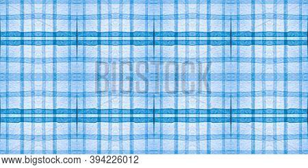 Check Print. Watercolor Plaid Border. Seamless Man Checkered Ornament. English Texture. White Check